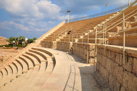 Renovated tribune of ancient amphitheater of Caesarea.  Stock Photo