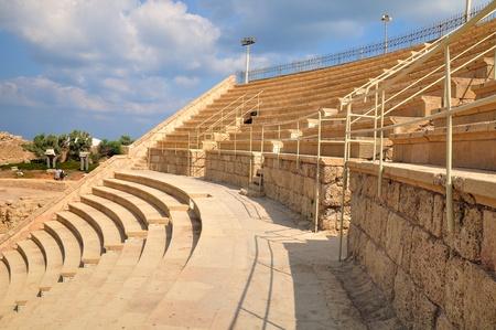 holyland: Renovated tribune of ancient amphitheater of Caesarea.  Stock Photo