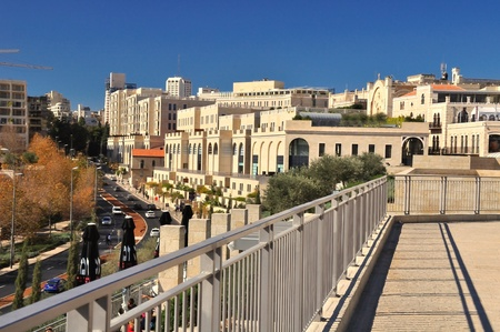 Jerusalem modern quarter near old city area.  Stock Photo
