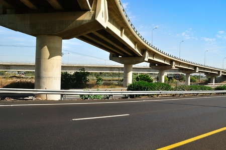 bridge construction: Bridge over Israeli number one highway   Stock Photo
