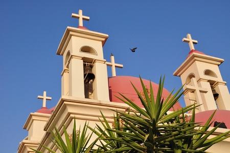 holyland: Greek Orthodox church of seven apostles in Capernaum  Israel