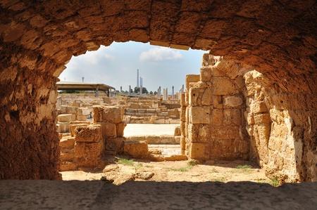 holyland: Ruins of Caesarea archeological park. Israel. Stock Photo