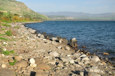 holyland: View of Kinneret lake and Arbel mount. Nothern Israel.  Stock Photo