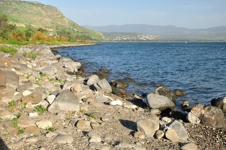 View of Kinneret lake and Arbel mount. Nothern Israel.  Stock Photo