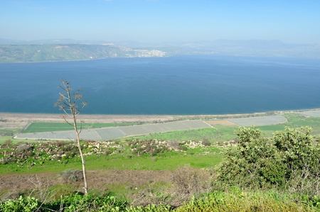 View of Kinneret lake (sea of Galilee) from the Golan Heights. Israel. Stock Photo