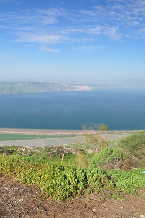 View of Kinneret lake (sea of Galilee) from the Golan Heights. Israel. photo