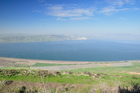 galilee: View of Kinneret lake (sea of Galilee) from the Golan Heights. Israel. Stock Photo