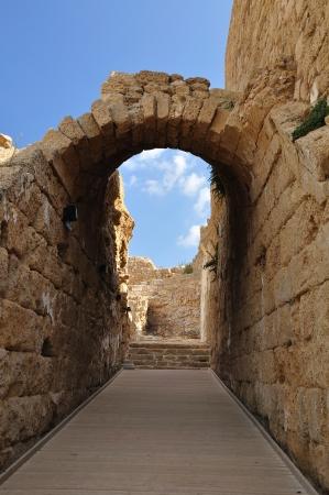 caesarea: Arch passage in Ruined Caesarea  Israel