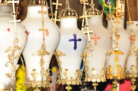 sepulcher: The lamps in the Holy Sepulcher church  Jerusalem