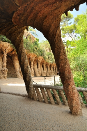 Passage decorated with the columns inGuell park  Barcelona