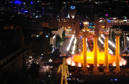 The night show of singing fountains in Barcelona  Spain   Stock Photo - 15625292
