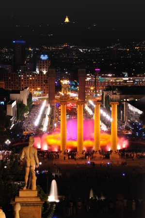 The night show of singing fountains in Barcelona  Spain