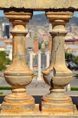 enclosure: Fragment of stone enclosure of art museum   Barcelona