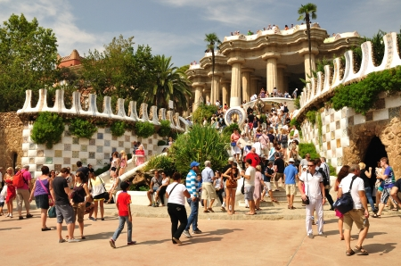 Entrance to the Guell park built by architect Gaudi   Barcelona
