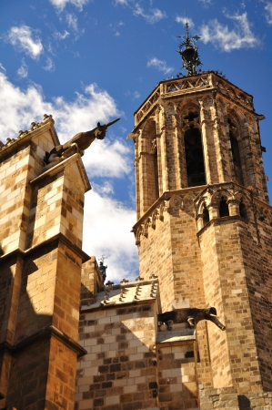 The cathedral of Barcelona, situated in the Gothic quarter  photo