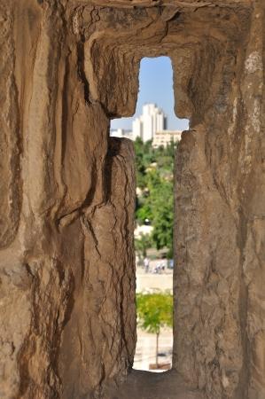 embrasure: Embrasure in Old Jerusalem wall Stock Photo