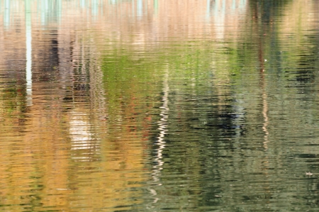 Abstract reflection in the water of the Jordan river  Stock Photo