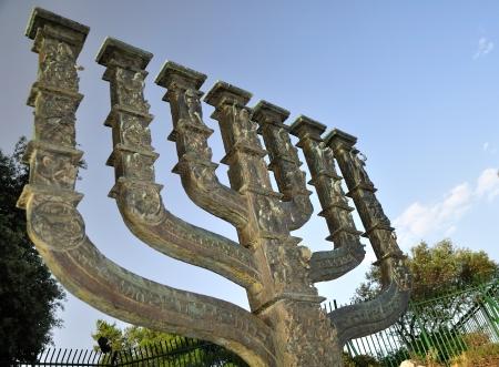 Big menora of Jerusalem situated near the Knesset   Israeli parliament   photo