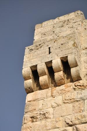 holyland: Part of old Jerusalem wall at Jaffa gate  Stock Photo
