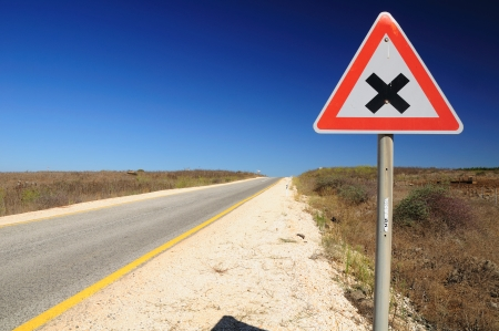the golan heights: Traffic sign on Golan Heights, warning about intersection  Israel  Stock Photo