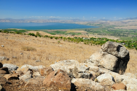 holyland: View of Kinneret lake from the Golan Heights  Israel  Stock Photo