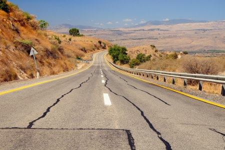 golan: Freeway leading down from Golan Heights  Israel
