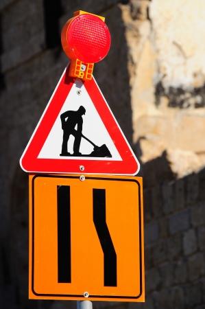 road works:  Road works ahead  traffic sign