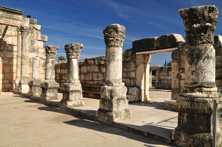 Ruins of ancient synagogue in Capernaum   Israel   Imagens