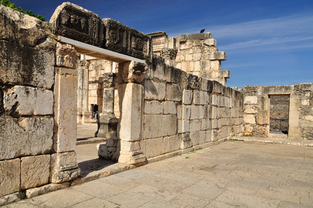 Ruins of ancient synagogue in Capernaum  Israel