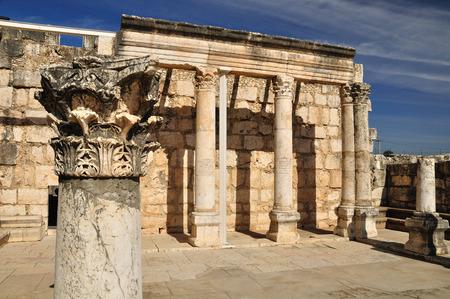 holyland: Ruins of ancient synagogue in Capernaum  Israel