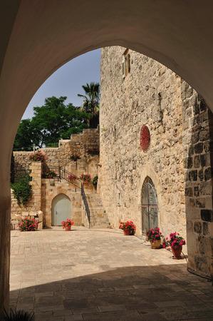holyland: Yard of St Jones church in Ein Kerem  Jerusalem  Stock Photo