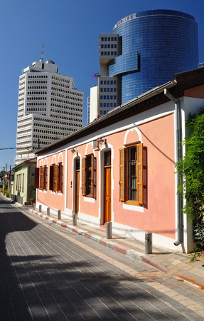 Urban contrast of Neve Tzedek quarter in Tel Aviv  Israel