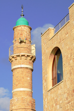 holyland: Minaret of the mosque in old Jaffa  Israel