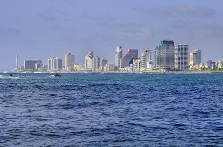 View to the row of hotels on Tel Aviv seashore  Israel  photo