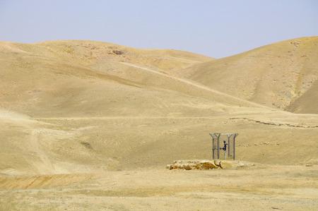 holyland: Mini station of the water pipeline in Negev desert  Israel