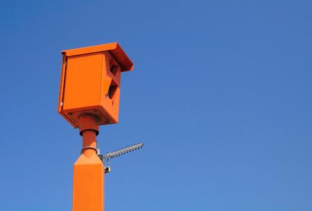 Israeli traffic speed camera under blue sky   Imagens