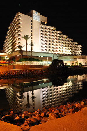 zionism: One of Eilat hotels in the night darkness  South Israel