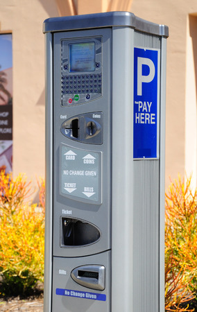 Parking payment machine in San Diego city. USA. Editorial