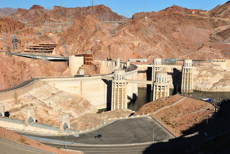 Hoover dam built on the Colorado river at the border between Arizona and Nevada states. USA. photo