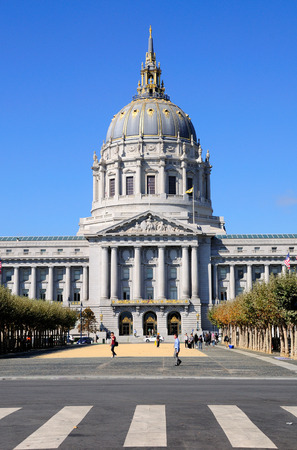 View to San Francisco city hall with pedestrian crossing at the foreground. Editorial