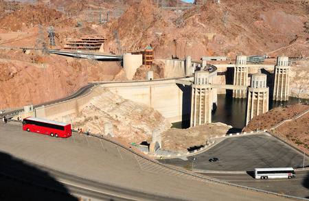 hoover dam: Hoover dam built on the Colorado river at the border between Arizona and Nevada states. USA.
