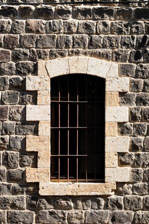 pilgrimage: Window of scottish pilgrimage hotel in Tiberias city. Israel. Stock Photo