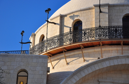 renovated: Big renovated synagogue in Old Jerusalem city. Stock Photo