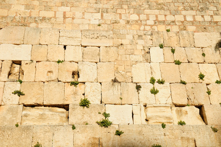 Western wall - the main jewish sacred place of Jerusalem old city. 스톡 콘텐츠
