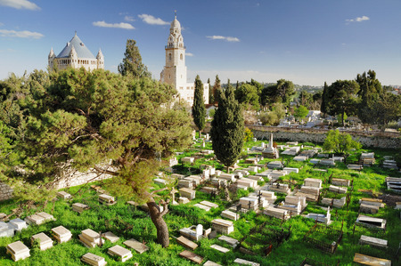 Christian cemetery near Dormition abbey in Jerusalem. photo