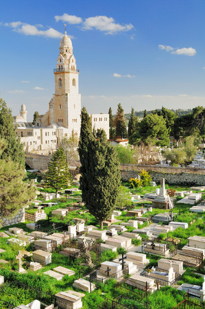 holyland: Christian cemetery near Dormition abbey in Jerusalem.