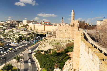 holyland: Jerusalem landscape as seen from Old City wall.