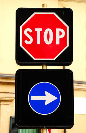 prohibitive: Prohibitive stop sign and arrow traffic sign. Italy.
