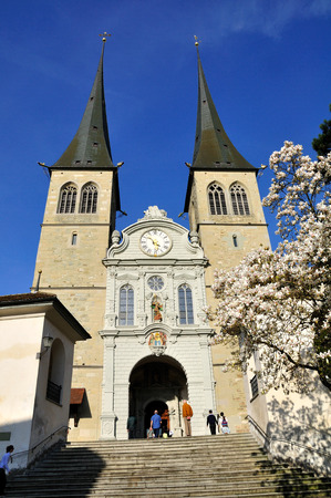 leger: St. Leger Cathedral also called Hof Church in Lucerne. Switzerland.