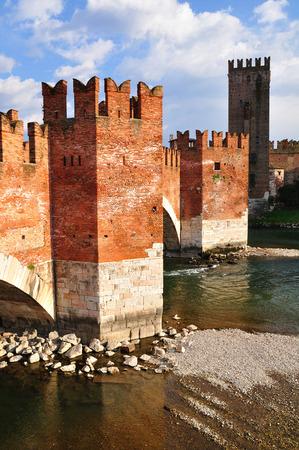 embrasure: Castelvecchio bridge and adige river. Verona. Italy.